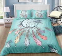Wholesale 3d bedding set green king for sale - Group buy Green Moon and Feather Soft Bedding Set King Size Fantasy D Duvet Cover Queen Home Textile Single Double Bed Set With Pillowcase