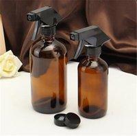 aromaterapi amber kadeh şişeleri toptan satış-250/500 ml Amber Cam Sprey Şişeleri Uçucu Yağ Aromaterapi Dağıtıcı Kozmetik Temizleme Kabı Ile Siyah Püskürtücü Tetik