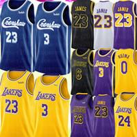 jerseys amarillos negros al por mayor-Crenshaw LeBron James 23 Universidad de New NCAA 3 Anthony Davis Jersey Kuzma Bryant jerseys del baloncesto Azul Amarillo Púrpura Negro Blanco