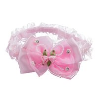 розовые волосы девушки оптовых-Baby Infant Girls Lace Headband Hair Bow w/  and Roses - Pink