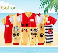 çocuklar giyim fiyatları toptan satış-Yeni Yürüyor Kısa Kollu 2016 Bebek Tek Parça Romper Mandarin Yaka% 100% Pamuk Ücretsiz Kargo Ucuz Çocuk Giyim 8 Stilleri Toptan Fiyat