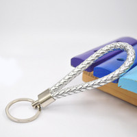 ткань 17 оптовых-High quality fabric PU Leather Braided Rope Key Chains Pendants 17 Candy Colors