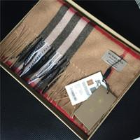 imprimé à carreaux en cachemire achat en gros de-Écharpes classiques à carreaux imprimés en cachemire de la mode, écharpes de créateur en cachemire pour hommes et femmes, marque de luxe 100% cachemire avec étiquettes