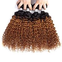 insan saçı kıvırcık ombre paketi toptan satış-Derin Dalga Hint Virgin İnsan Saç Koyu Sarışın Ombre Örgüleri 3/4 Demetleri 1B / 30 Siyah Kadınlar için Derin Kıvırcık Ombre Saç