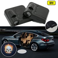 Wholesale 2pcs Car Logo welcome Door light Paste Battery Projector light For Blazing Skull Ghost Rider
