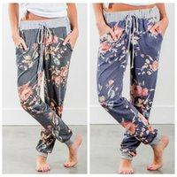pantalones de baile holgados al por mayor-Pantalones de cordón floral de las mujeres Pantalones de harén de danza casual pantalones holgados pantalones pantalones de cintura elástica pantalones largos ljjo6567