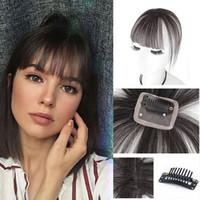 bangs planos venda por atacado-3D Air Bangs Hairpiece Extensão Luz Castanho 100% Cabelo Humano Real Franja Plana Com Templos Frente Frente Completa Fe ...