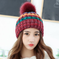 çok renkli örme şapkalar toptan satış-Kadınlar Çok Renkli Örme Şapka Kızlar Sıcak Kış Kasketleri Kap Moda Yumuşak Örme Top Şapka Açık Seyahat Şapka TTA1253