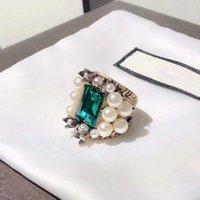 perlenringe großhandel-Europa und Amerika Mode Frauen Ring Vergoldet Perle Big Green CZ Ring für Mädchen Frauen für Party Hochzeit Nizza Geschenk