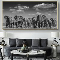 Wholesale fashion pictures for wall for sale - Group buy 1 Modern Black African Elephant Herd Posters and Prints Wall Art Canvas Painting Animals Pictures for Living Room Cuadros Decor No Frame