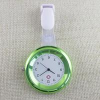 Wholesale nursing medical watch clip resale online - Colorful electroplating ladies women nurse simple clip pocket watch hospital medical doctor FOB quartz hang gift watches