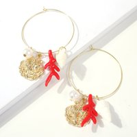 ingrosso orecchini di corallo rosso perlato-GEREIT Orecchino a goccia in metallo grande cerchio vintage nuovo conchiglia dorata conchiglia rossa corallo bianco orecchini pendenti gioielli estivi da spiaggia di perle
