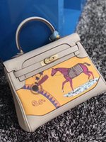 Wholesale black white horse paintings resale online - Latest Women Leather totes cm wide small bags with cuckle Horse Colored painting exquisite plating hardware soft real leather best prices