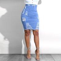 mini saias apertadas azuis venda por atacado-KLV Denim Saia De Cintura Alta lápis Mini Saias Das Mulheres Verão Novas Chegadas Apertado com zíper Azul Jean Saia Estilo Saia Jeans 4.23