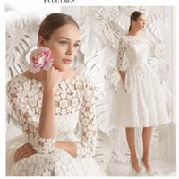 Wholesale elegant short plus size wedding dress resale online - 2019 Boat Neck Lace Short Wedding Dresses Knee Length Long Sleeve Simple A line Bride Dresses Elegant D floral lace Wedding Formal Dresses