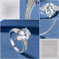 grands ensembles de bijoux achat en gros de-Effacer CZ Big Diamond gouttelettes d'eau BAGUE 925 Sterling Argent plaqué larme anneaux pour femmes filles cadeau de mariage bijoux boîte de vente au détail ensemble
