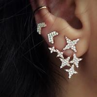 piercing d'oreille étoile achat en gros de-Douce femme pleine d'argent or minuscule cristal lune étoile oreille grimpeur piercing nez lèvre boucles d'oreilles bijoux de corps sexy