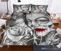 conjunto de cama rosa negra venda por atacado-Crânio e Beleza cama Set Duvet Cover fronha Bed Set Beauty Rose Imprimir Preto Roupa de cama criativa cama Set