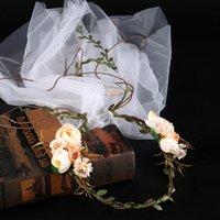 ingrosso wedding green garland-Elegante Wedding Bridal Princess Champagne Rose Green Vine ghirlanda di capelli Tiara Hariband fascia gioielli fascia testa del partito