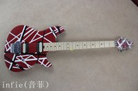 Wholesale guitar shop free shipping resale online - High Quality New Arrival Custom Shop Electric Guitar in red white line wholesales