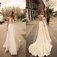 Wholesale sexy open back wedding dresses online - Newest Berta A Line Wedding Dresses Summer Bohemian Deep V Neck Lace Appliques Sexy Open Back Boho Bridal Gowns