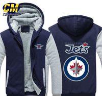 hokey kapüşonlu toptan satış-NHL Kuzey Amerika hokey kalınlaşır artı kadife fermuar kat moda kapüşonlu kazak kış rahat ceket Winnipeg Jets