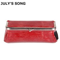 saco do organizador do jacaré venda por atacado-JULY'S SONG Nova Sacos de Jacaré Cosméticos Bolsa De Lavagem De Couro PU Make Up Bag Com Espelho Casual Lady Sacos Organizador Para Viagens # 87482