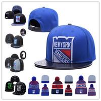 new york beanie hüte großhandel-New York Rangers Eishockey Strickmützen Stickerei verstellbarer Hut Bestickte Hysteresenkappen Blau Weiß Grau Schwarz Genähte Hüte