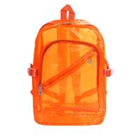 mochila laranja azul venda por atacado-Mulheres Sólidos Zíper De Plástico Transparente Mensageiro Preto, Roxo, Laranja, Verde, Azul Mochila Casuais 2