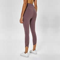 fitness yoga pantolon siyahı toptan satış-LU-66 Spandex Yüksek Bel Kadınlar Mesh Yoga Pantolon Katı Siyah Spor Salonu Spor Tayt Baskılı Elastik Spor Lady Genel Kapriler Tayt