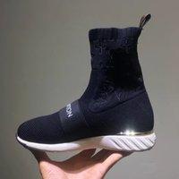sapatos têxteis venda por atacado-Chique Marca Mulheres Strap Meia Treinador Botas de Moda Menina Letra Stretch Têxtil Tira Sneaker Botas Designer Senhora Patch de Sola De Borracha Sapatos