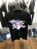 çiçek baharı toptan satış-Chao Marka Özelleştirilmiş Bahar ve Yaz 2019 Yeni Makine Dinozor Kiraz Çiçeği Desen Erkekler için Moda Kısa Kollu T-shirt