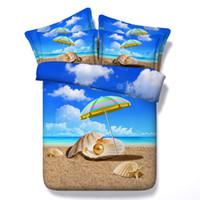juego de edredón ocean queen al por mayor-King Size 3d pintura al óleo Ocean Shell Beach niños juegos de cama, funda nórdica edredón de algodón cubierta de tamaño completo decoración del hogar cama