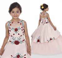 ingrosso ragazza di vestito dalla flora-Rosa pesca ragazze Pageant Dresses 2020 Principessa Stampato Flora Sheer collo Flower Girl Dress con posteriore Lace-up BC2478