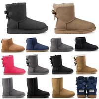 botines de bowknot al por mayor-2019 UGG ugg boots diseñador de moda mujer tobillo invierno Australia botas castaño alto Bailey Bowknot mujeres trabajo nieve sobre la rodilla muslo botas altas de piel