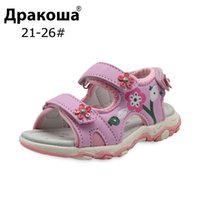 Apakowa 2018 New Summer Children Shoes Girls Sandals Kids Girls Rubber Sole Slip resistant Sport Sandals With Arch Support Y19062001