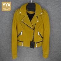синий желтый куртка мотоцикла оптовых-Hot Natural Pigskin Jacket Women  Genuine Leather Short Coat Female Handsome Motorcycle Blue Yellow Jackets Lady Overcoat