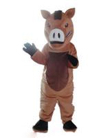 vestindo traje de mascote venda por atacado-2018 Alta qualidade quente um traje de mascote de javali marrom com nariz grande para adulto para usar