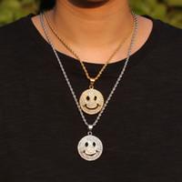 Wholesale smile pendants for sale - Group buy Mens Necklace Sliver Gold Emoji Smile Face Chain Zircon Iced Out Pendants Hip Hop Jewelry Rap Style Pendant Creative Hot Sale