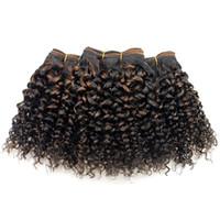 derin kıvrık saç örgüsü toptan satış-Kısa Bob Dalga Sapıkça Kıvırcık İnsan Saç Uzantıları Dikmek Çift Çizilmiş Ombre Sarışın Brezilyalı Bakire Saç Derin Kıvırcık Örgü F1B / 30