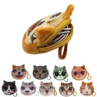 çocuklar makyaj çantaları toptan satış-1 Adet Çocuklar Sevimli Kedi Köpek Yüz Fermuar Vaka Coin Bayan Çanta Cüzdan Makyaj Çanta Kılıfı Yeni