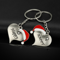 Wholesale heart shaped key chain ring for sale - Group buy Christmas Hat Lovers Key Chain Man Women Heart Shapes Key Buckles Fashion Couple Key Ring Xmas Party Gift TTA1617