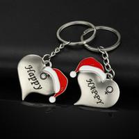 şapka anahtarlıkları toptan satış-Noel Şapka Severler Anahtarlık Adam Kadın Kalp Şekiller Anahtar Tokaları Moda Çift Anahtarlık Noel Partisi Hediye TTA1617