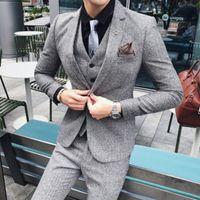 erkek gri takım elbisesi toptan satış-2019 erkek retro gelgit Blazer marka kar gri erkek takım elbise erkek Kore versiyonu 3 adet açık renk iş takım elbise parti elbise gri Damat smokin