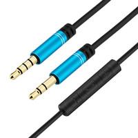 audio-kabel lautstärkeregler großhandel-3,5-mm-Klinke-Audiokabel mit Mikrofon-Lautstärkeregler männlich zu männlich vergoldet Aux-Kabel Kopfhörer-Kabel