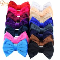 Wholesale white butterfly hair accessories resale online - bow for men Velvet Hair Bows Barrette quot Big Soft Solid Butterfly Bows Kids Hair Clip For Women Party Decoration Headband