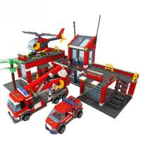 ingrosso mattoni di costruzione del giocattolo in plastica-Building Blocks Fire Station Girl Blocchi Compatibile mattoni LegoINGls City Block ABS di plastica giocattoli educativi per i bambini