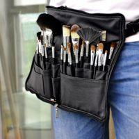 bolsa porta maquillaje al por mayor-Tamax Professional Cosmetic Makeup Brush Delantal de PVC Bolsa Artista Cinturón Correa Correa Maquillaje Bolsa de maquillaje (Cepillos no incluidos)