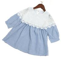 ingrosso vestito blu dalla principessa 3t-WLG ragazze primavera autunno abiti da principessa bambini dolcevita manica lunga a righe patchwork vestito arco bambino vestiti blu party 2-7 t