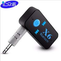 altavoz bluetooth lector usb al por mayor-X6 Adaptador Bluetooth 3-en-1 Inalámbrico 4.0 USB Receptor Bluetooth AUX 3.5mm Jack de Audio TF Lector de Tarjeta MIC Llamada Soporte Altavoz para Coche 1 unids